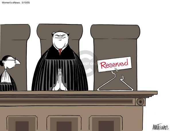 Cartoonist Ann Telnaes  Ann Telnaes' Women's  eNews Cartoons 2005-05-19 supreme court nominee