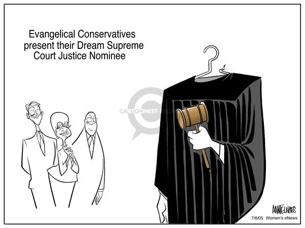 Cartoonist Ann Telnaes  Ann Telnaes' Women's  eNews Cartoons 2005-07-08 supreme court nominee