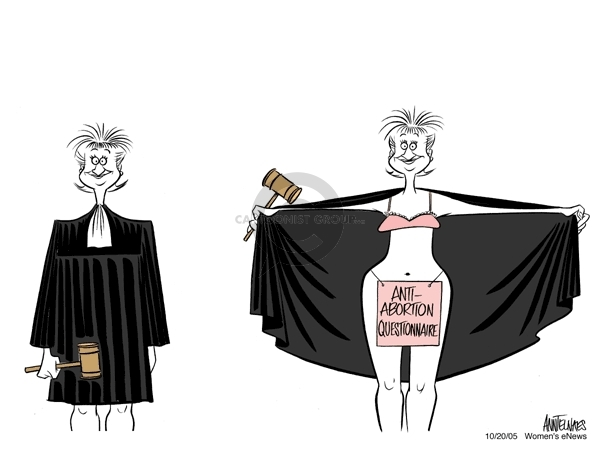 Cartoonist Ann Telnaes  Ann Telnaes' Women's  eNews Cartoons 2005-10-20 supreme court nominee