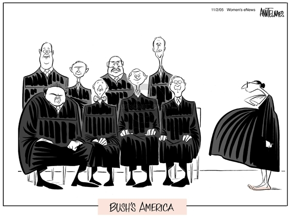 Cartoonist Ann Telnaes  Ann Telnaes' Women's  eNews Cartoons 2005-11-02 George Bush