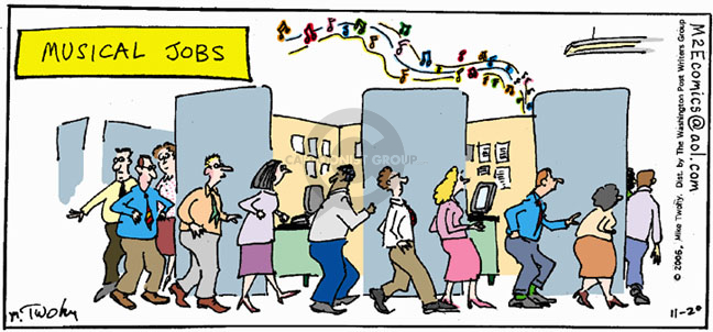 Musical Jobs.  (Workers move in a circle around cubicles while music plays.)