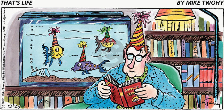(No caption).  A man reads at his new years eve party, which is only attended by his fish who are wearing party caps.