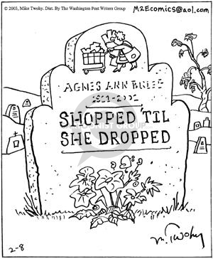 Comic Strip Mike Twohy  That's Life 2003-02-08 cemetery