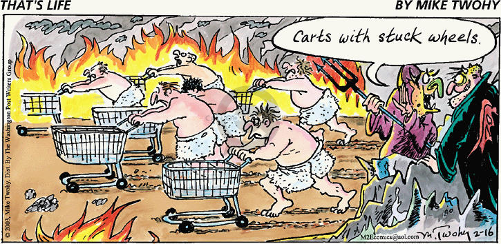 Comic Strip Mike Twohy  That's Life 2003-02-16 grocery cart