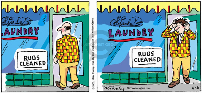 Lindas Laundry.  Rugs Cleaned.    (Man walks out with his cleaned toupee on his head.)