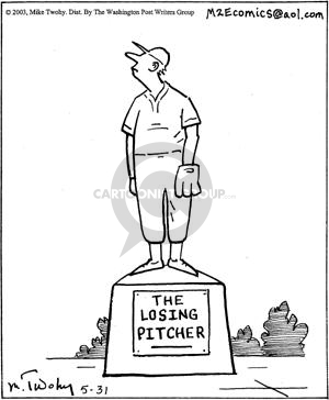 The Losing Pitcher.  (Statue of baseball pitcher who stands as if watching a home run fly by.)