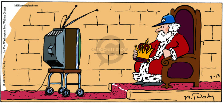 (No caption.)  King sits on his throne watching a sporting event on television.  He holds his crown in his lap and wears a teams cap on his head.