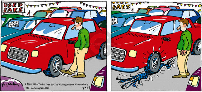 Comic Strip Mike Twohy  That's Life 2003-08-17 automobile dealership