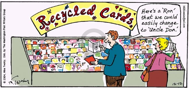 """Recycled Cards.  Heres a """"Ron"""" that we could easily change to """"Uncle Don."""""""