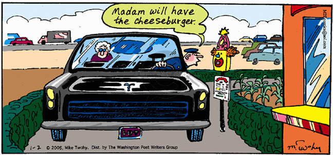 Comic Strip Mike Twohy  That's Life 2005-01-02 fast food hamburger