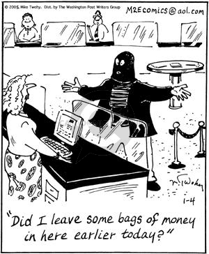 Comic Strip Mike Twohy  That's Life 2005-01-04 bank teller