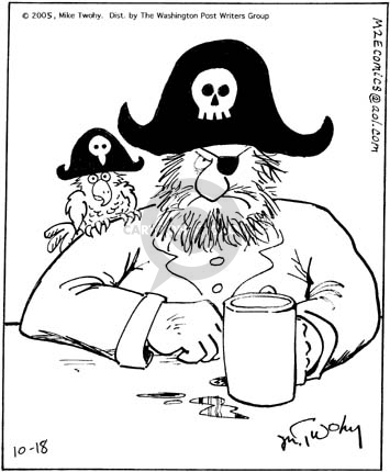 No caption.  (Pirate sits drinking a beer.  His parrot perches on his shoulder.  Emulating the pirate, the bird wears a hat that includes a birds skeleton.)