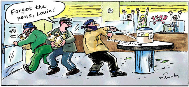 Comic Strip Mike Twohy  That's Life 2007-12-23 bank robber
