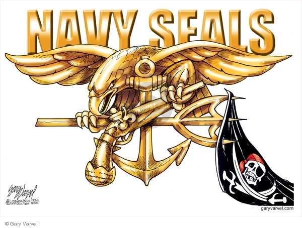 Navy Seals. (A pirate flag hangs from the pitch fork of the Navy Seals logo.)