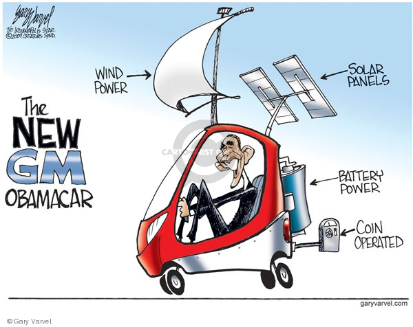 The new GM Obamacar. Wind power. Solar panels. Battery power. Coin operated.