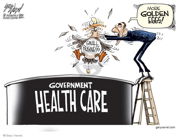 Government health care. Small business. More golden eggs!