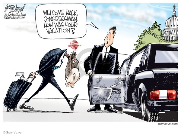 Cartoonist Gary Varvel  Gary Varvel's Editorial Cartoons 2009-08-24 time off