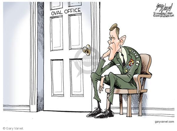 Oval Office.  (General Stanley McChrystal slumps in chair outside of Oval Office.)