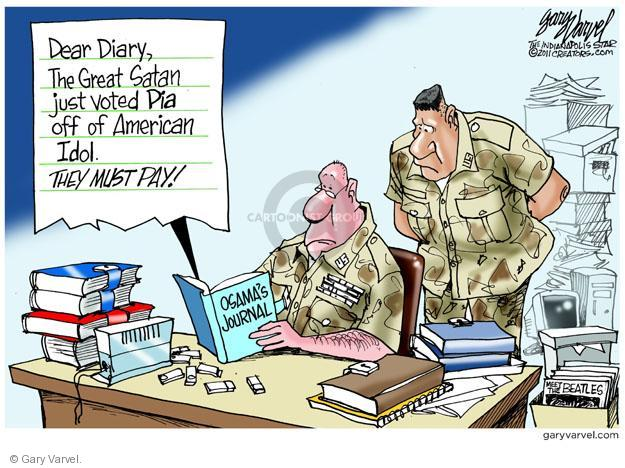 Cartoonist Gary Varvel  Gary Varvel's Editorial Cartoons 2011-05-13 retribution