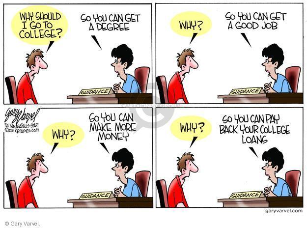 Cartoonist Gary Varvel  Gary Varvel's Editorial Cartoons 2011-08-25 college education