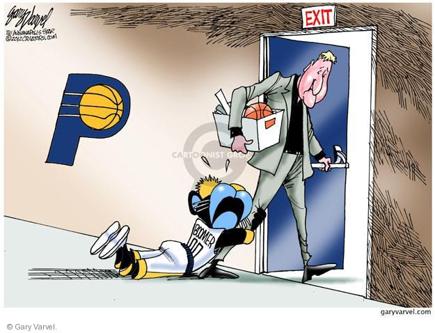 Exit. Boomer. (Indiana Pacers logo).