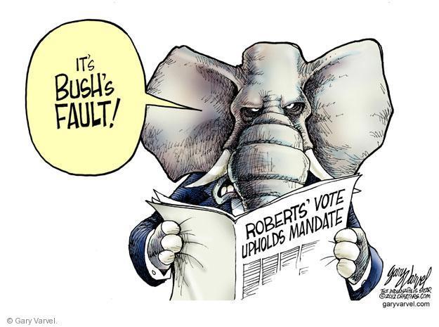 Its Bushs fault! Roberts Vote Upholds Mandate.