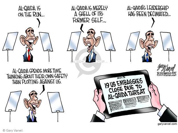 Cartoonist Gary Varvel  Gary Varvel's Editorial Cartoons 2013-08-07 Obama terrorism