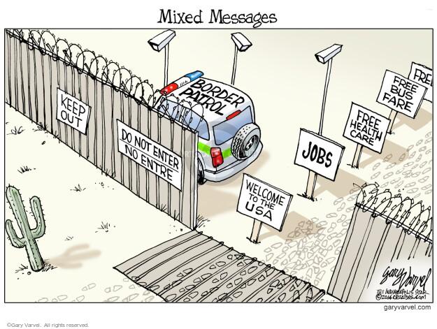 Cartoonist Gary Varvel  Gary Varvel's Editorial Cartoons 2014-07-20 immigrant