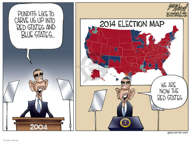 Pundits like to carve us up into red states and blue states … 2004. 2014 election map. We are now the red states.