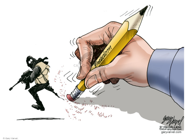 Cartoonist Gary Varvel  Gary Varvel's Editorial Cartoons 2015-01-09 freedom of speech