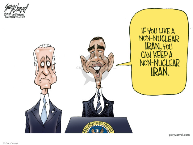 Cartoonist Gary Varvel  Gary Varvel's Editorial Cartoons 2015-07-17 Iran nuclear agreement
