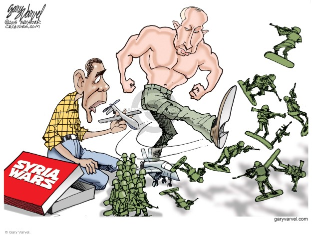 Cartoonist Gary Varvel  Gary Varvel's Editorial Cartoons 2015-10-04 Barack Obama Vladimir Putin