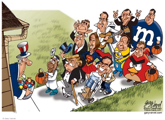 No caption (Republican presidential candidates dressed in various costumes go trick-or-treating at Uncle Sams house).