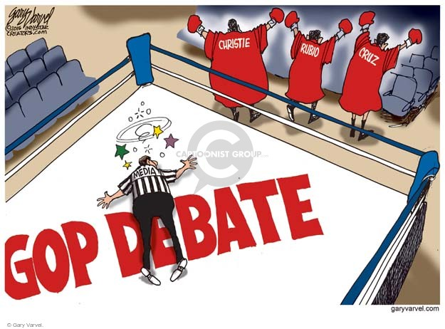 GOP debate. Media. Christie. Rubio. Cruz.