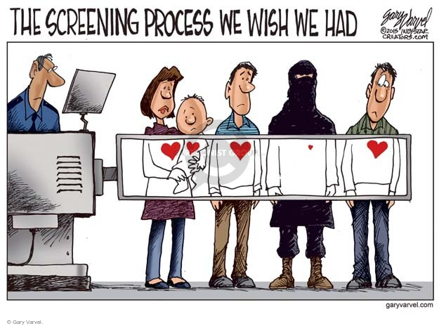Cartoonist Gary Varvel  Gary Varvel's Editorial Cartoons 2015-11-20 airport screening