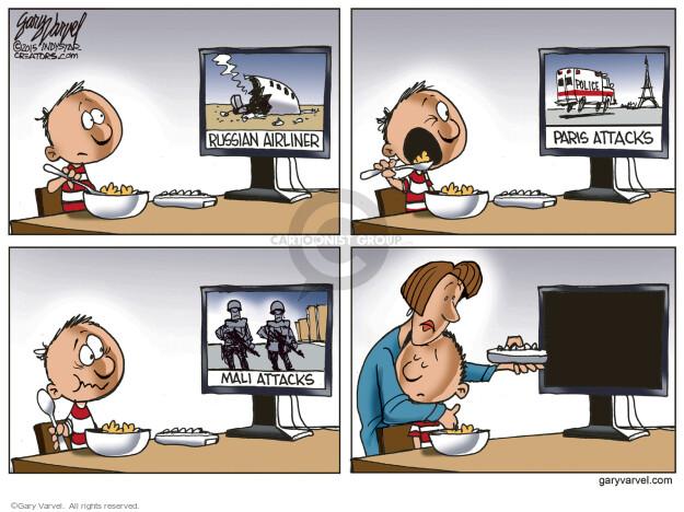 Cartoonist Gary Varvel  Gary Varvel's Editorial Cartoons 2015-11-25 attack