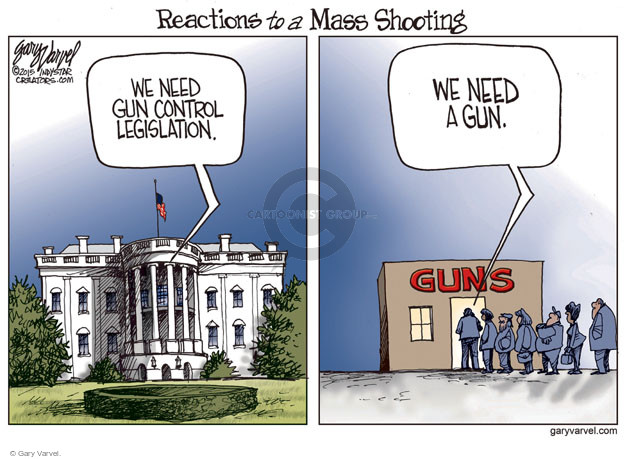 Cartoonist Gary Varvel  Gary Varvel's Editorial Cartoons 2015-12-07 weaponry