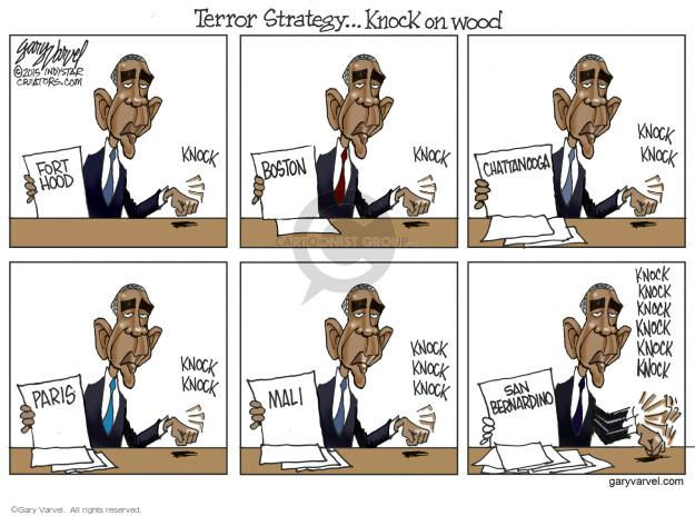 Cartoonist Gary Varvel  Gary Varvel's Editorial Cartoons 2015-12-08 Obama terrorism