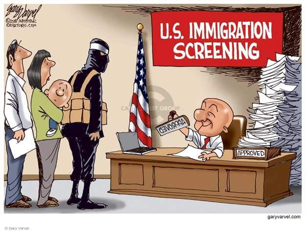 Cartoonist Gary Varvel  Gary Varvel's Editorial Cartoons 2016-01-03 immigrant