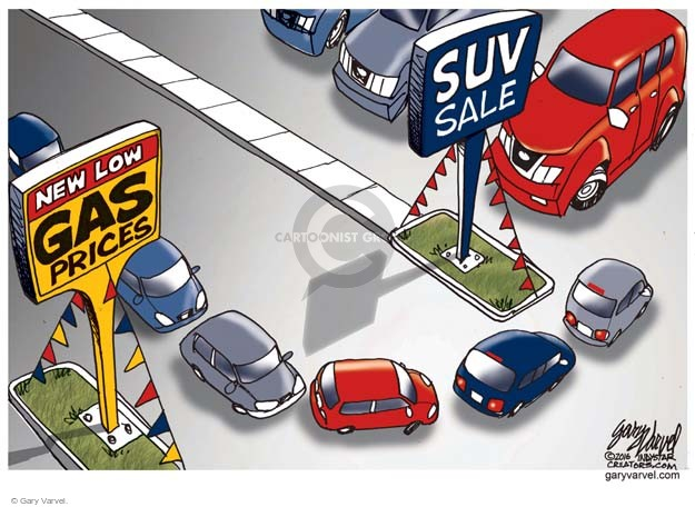 New low gas prices. SUV sale.