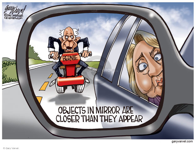 Bernie. Objects in mirror are closer than they appear.