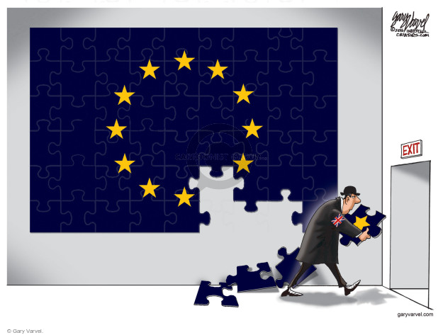 No caption (A man in a bowler hat and wearing a British flag arm band removes a star from a puzzle of the European Union flag).