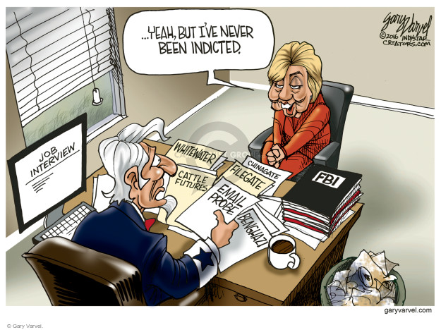 Cartoonist Gary Varvel  Gary Varvel's Editorial Cartoons 2016-07-17 Hillary Clinton