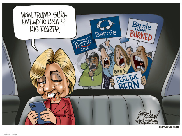 Gary Varvel  Gary Varvel's Editorial Cartoons 2016-07-25 Hillary Clinton and Bernie Sanders