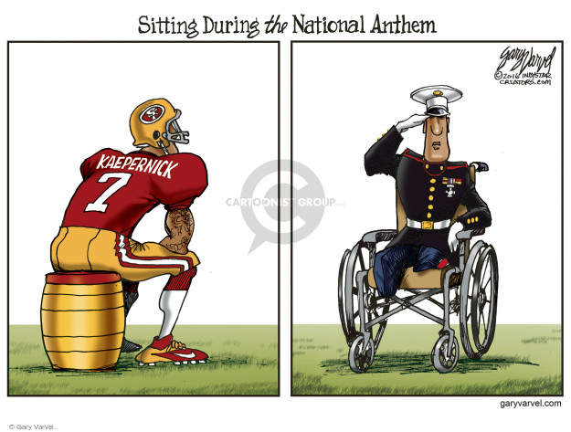 Sitting During the National Anthem. SF. Kaepernick.