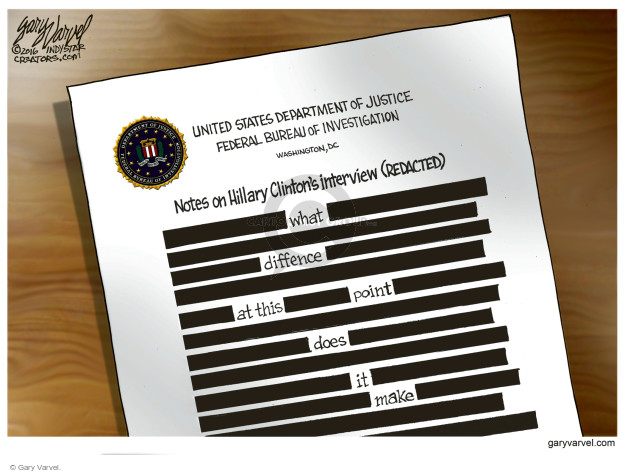 United States Department of Justice Federal Bureau of Investigation. Washington, DC. Notes on Hillary Clintons interview (redacted). What difference at this point does it make.