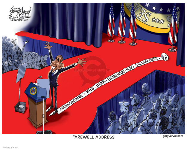 Obamacare. ISIS. Iran. Benghazi. $20 trillion debt. Farewell Address. Seal.