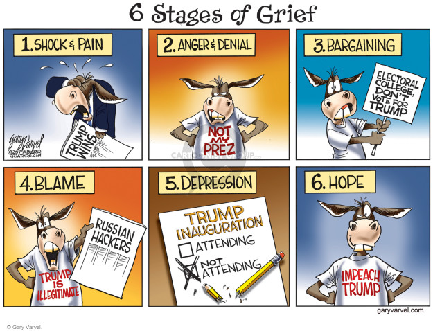 6 Stages of Grief. 1. Shock & Pain. Trump Wins. 2. Anger & Denial. Not my Prez. 3. Bargaining. Electoral college, dont vote for Trump. 4. Blame. Trump is Illegitimate. Russian Hackers. 5. Depression. Trump Inauguration. Attending. Not Attending. 6. Hope. Impeach Trump.