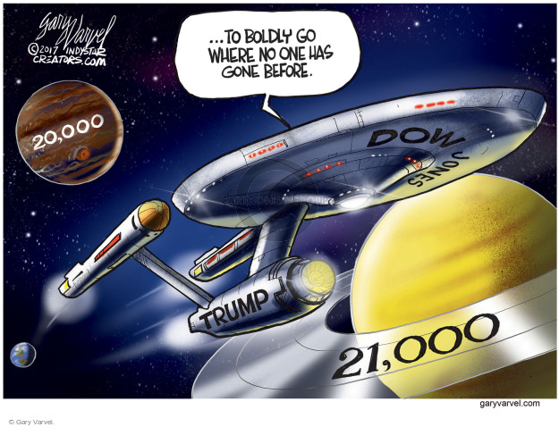 … to boldly go where no one has gone before. 20,000. Trump. Dow Jones. 21,000.