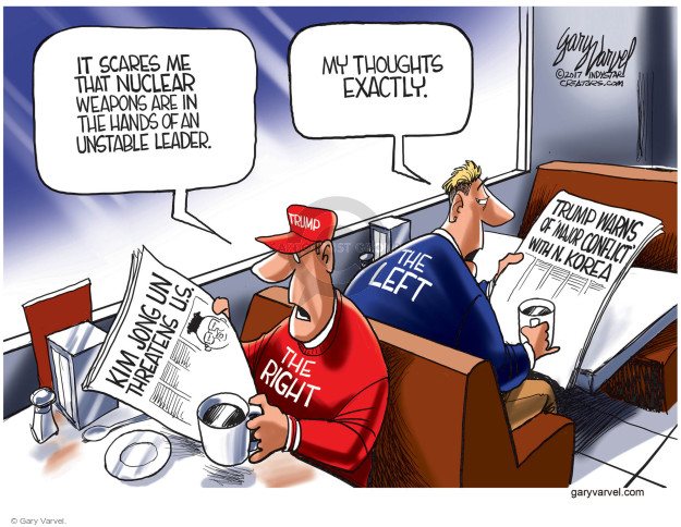 Cartoonist Gary Varvel  Gary Varvel's Editorial Cartoons 2017-05-01 nuclear weapon